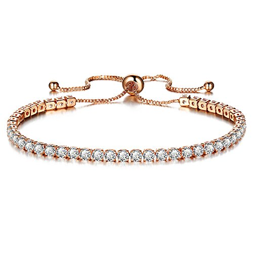 PRETTERY Shining Rose Gold Plated Adjustable Tennis Bracelet with Swarovski Element Crystal,Gift for Women