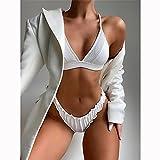 maozuzyy Bikinis Bañador Mujer Sexy Bikini Set Push-Up Blanco Mujer Traje De Baño Señoras Traje De Baño Tanga Biquini Traje De Baño Traje De Baño Bikini Set-Q016001_M