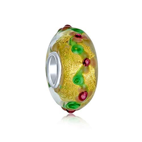 Murano Glass 3D Lampwork Multi Color Gold Foil Metallic Flower Charm Bead For Women Teen Fits European Bracelet. 925 Sterling Silver Core