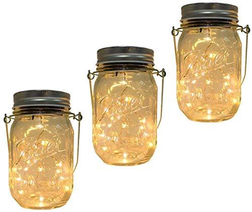 3 Pezzi 30 Led Bianco Caldo Luci Solari Giardino Mason Jar String Lights Luce Solare Esterno Lampade Solari Barattolo Impermeabile Lampade A Sospensione Per Giardino, Cortile, Matrimonio, Festa, Bar