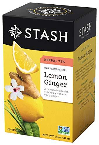 Stash Tea Lemon Ginger Herbal Tea, 6 Boxes of 20 Tea Bags Each (120 Tea Bags Total)