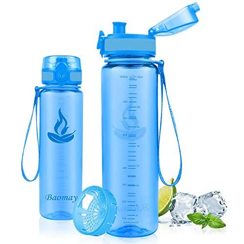 Baomay Botella de Agua Deportiva 1000ml, Adultos/Niños Bottle con Filtro, Bidon de Bebidas Plástico Tritan, para Gimnasio, Ciclismo, Trekking | Sin-BPA & Impermeable & Reutilizable (Transparente-Azul)