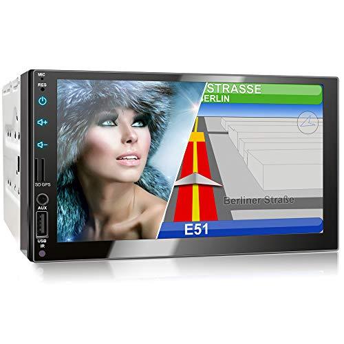XOMAX XM-2VN751 Autoradio mit Mirrorlink, GPS Navigation, Navi Software, Bluetooth Freisprecheinrichtung, 7 Zoll / 18cm Touchscreen Bildschirm, FM Tuner, SD, USB, 2 DIN
