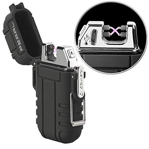 PEARL Elektro Feuerzeug: Elektronisches Feuerzeug mit doppeltem Lichtbogen, Akku, IP56, schwarz (Feuerzeug elektrisch)