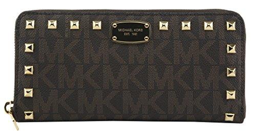NEW Genuine MICHAEL KORS Womens Large Leather MK Logo Zip Around Studded Purse Wallet 35S7GTTZ1B JET SET Brown