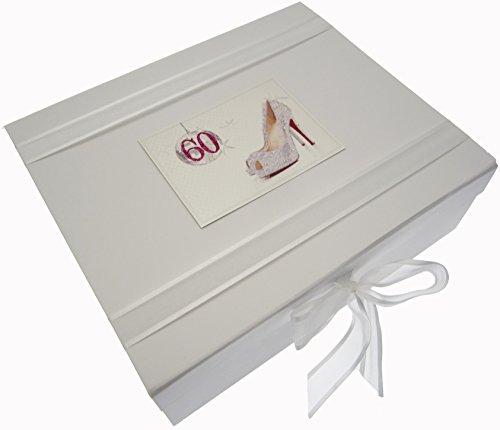 White Cotton Cards Boîte souvenir d'anniversaire 60 ans Paillettes Boule et chaussures (Large)
