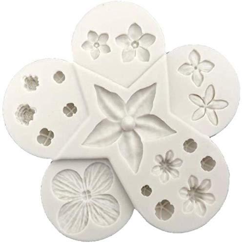 hwljxn Silikon-Blumenformen Zuckerpaste Süßigkeiten Schokoladen-Gumpaste-Clay-Kuchen Dekorieren von Formen