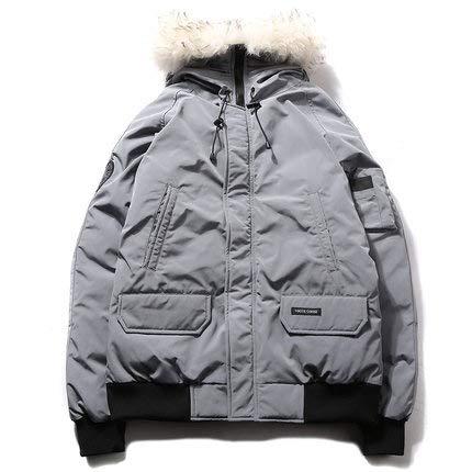 Hooded Winter Heren Down Jacket, Dikke Witte Eend Down Grijze Gereedschap Jas Warm Winddicht Jacket-XL