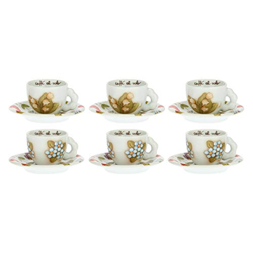 THUN ® - Set 6 Tazzine caffè Country - Porcellana - 100 ml - Ø 6 cm - h 5 cm - piattino Ø 11,5 cm