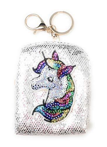Schlüsselanhänger mit Glitzer und Motiv Einhorn in weiß, Tasche, Anhänger, Täschchen, Portemonaise