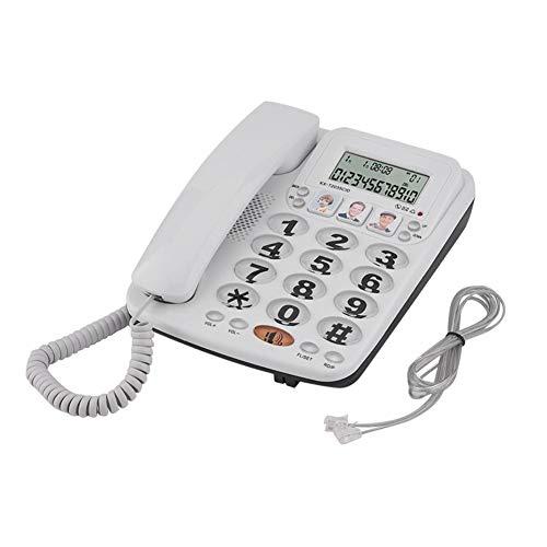 Fournyaa Teléfono con cable, teléfono fijo, clásico para el hogar con función de identificación de llamadas Oficina con altavoz