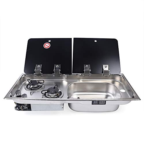 Gas Camping Stove 2 Burners Boat Caravan RV Camper LPG Gas Stove Hob and Sink Comb RV Cooktop Stove with Tempered Glass Lid (GR-904RD, 2 Burners Right Sink Stove + Faucet, 2 Lids)