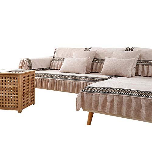 Fundas de sofá de Chenilla Fundas de sofá Modernas de Color sólido Fundas de sofá seccionales,Fundas de sofá seccionales Protector de Muebles Fundas de sofá,Rosa,110 * 180 cm