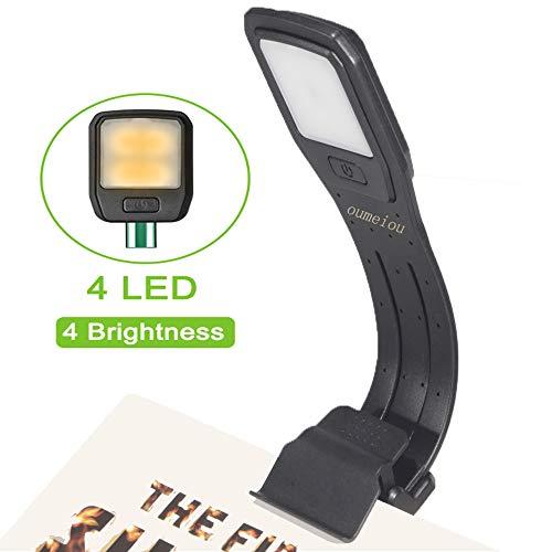 Oumeiou Book Light Clip auf LED Leselicht USB aufladbar und 4-Stufen Einstellbare Helligkeit Flexible E-Reader Licht Clip auf Kindle, Buch, iPad, eBook und mehr