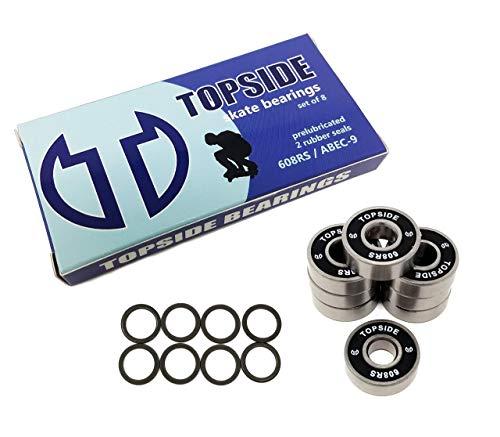 TOPSIDE Skate Bearings 8-Pack ABEC-9 608RS