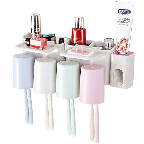 Tandenborstelhouder, bewaarset, elektrische tandenborstel, opbergdoos met automatische tandpastaknijper, 4 kopjes en 10 sleuven voor familie, kinderen, badkamer, douche, wandmontage, mouthwash gereedschap