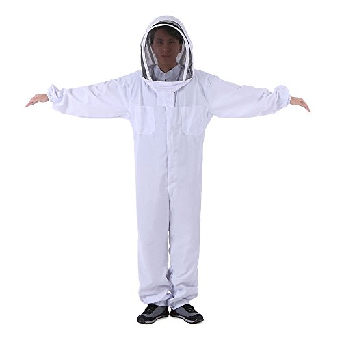 Nukana Bienenzucht Schutzausrüstung Weiße Bienenzucht Anzug Mit Abnehmbare Runde Clear View Fechten Schleier Bienenzucht Vollkörperschaftshut Kittel X