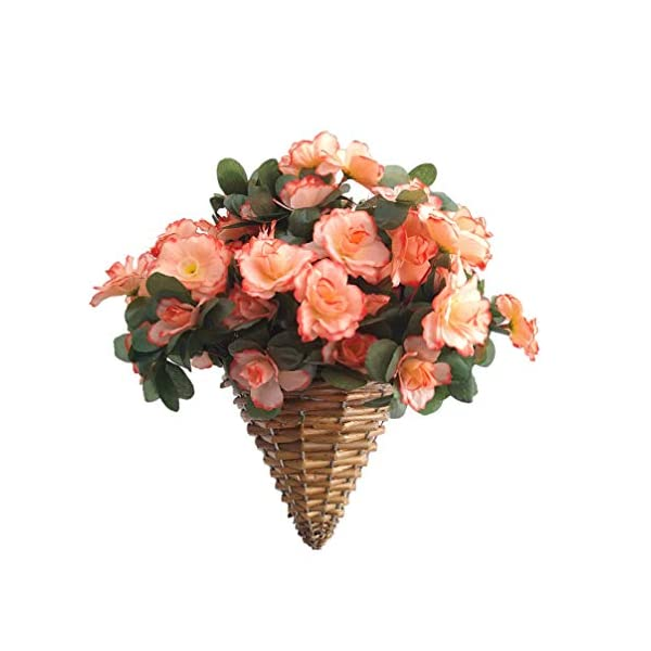 Champagne Azalea Fake Silk Flower Lifelike Chain Hanging Cone Basket Artificial Flowers for Home Decoration