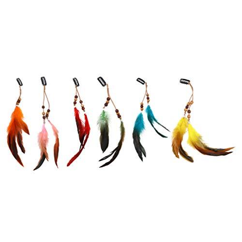 Minkissy 6 Pinzas para El Pelo de Plumas Decorativas Coloridas Estilo Bohemio Plumas Borlas Tocado Accesorios para El Cabello Indios 30X3cm