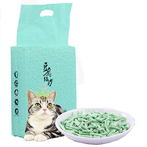 GBY Katzenstreu, zweitaufgelöster Grüntee-Tofu-Katzenstreu, 6 l verklumpter Pflanzen-Katzenstreu, desodorierter Katzenstreu