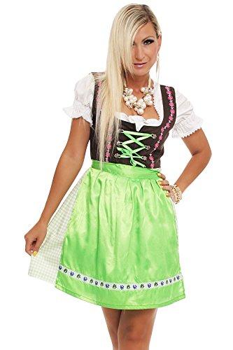 4211 Fashion4Young Damen Dirndl 3 tlg.Trachtenkleid Kleid Bluse Schürze Oktoberfest 4 Farben 4 Größen, Grün, 38