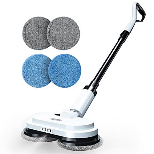 Moolan Electric Mop, Cordless Dual Spinning Mop for Floor Cleaning, Up to 60 Mins Powerful Floor Cleaner with 300ml Water Tank, Polisher for Hard Wood, Tile, Laminate, Marble Floors