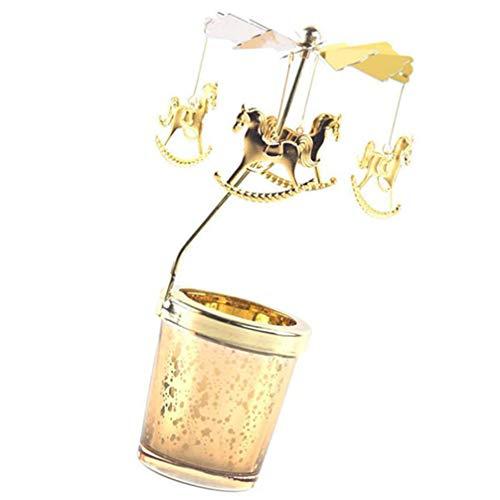 PIXNOR Candelabro Giratorio de Metal Velas de Carrusel Candelabro de Navidad Soporte de Luz de Té Giratorio Encantos de Carrusel Decoración de Chimenea de Escritorio de Navidad