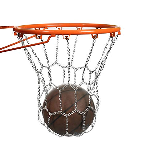 WAGX Kette Basketball-Netz, Heavy-Duty-Stahl verzinkt Kette Basketball-Netz - Durable und Nicht rostend, leicht zu installieren - für die meisten Standard-12-Haken Hoops