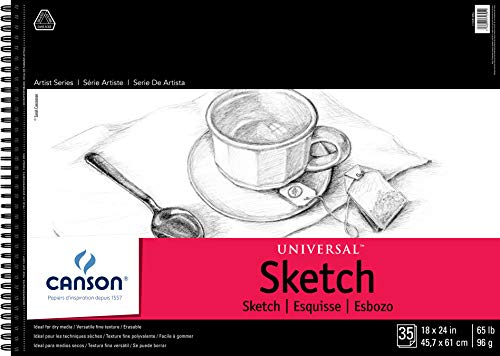 Canson Artist Series Universal Paper Sketch Pad, for Pencil and Charcoal, Micro-Perforated, Side Wire Bound, 65 Pound, 18 x 24 Inch, 35 Sheets