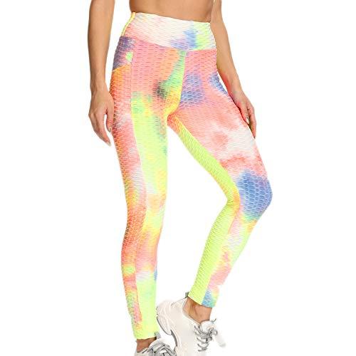 SHOBDW Pantalón Deportivo de Mujer Cintura Alta Leggings Teñido Anudado Mallas para Running Training Fitness Estiramiento Zumba Yoga y Pilates Pantalón Medio(Amarillo,L)