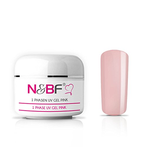 N&BF 1-Phasen UV Gel Pink dickviskos 50ml | 3in1 Gel rosa / rosé | Made in EU | Allrounder Gel für Nägel | All in One Gel ohne Säure + selbstglättend | Einphasen Gel UV Nagelgel