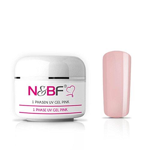 N&BF 1-Phasen UV Gel pink milchig 15ml | 3in1 Gel transparent | Made in EU | Allrounder Gel für Nägel | All in One Gel ohne Säure + selbstglättend | Einphasen Gel UV Nagelgel
