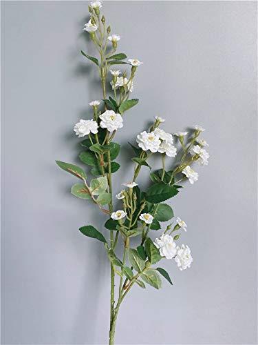 Plantas artificiales para decoración de la mesa del hogar, centro comercial, accesorios para fotos de boda, rosa de lujo, rama larga, flores artificiales de seda (color: blanco)