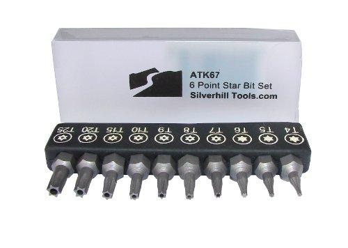 ATK676Point Star Sicherheit Bit Set mit Sicherheit Bits (Torx TR Stil mit Pin in Loch), Schraubendreher-Griff für Bits 1/10,2cm. Werkzeug Größen T4, T5, T6, T7, T8, T9, T10, T15, T20, T25)