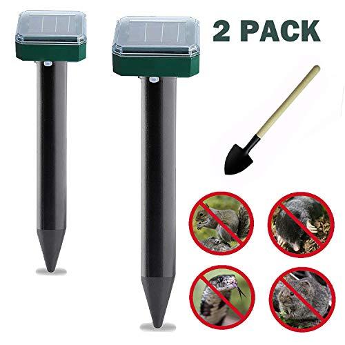 Mole Repellent, 2 Pack Solar Powered Mole Repellent, Ultrasonic Pest Repeller, Gopher, Mole, Snake, Mouse, Rodent Repellent