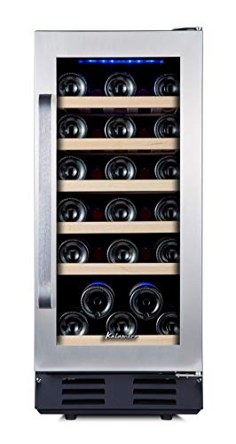 Kalamera 15 Inch Wine Refrigerator Cooler, 30 Bottle Built-in or Freestanding, with Stainless Steel & Double-Layer Tempered Glass Door, Temperature Memory Function