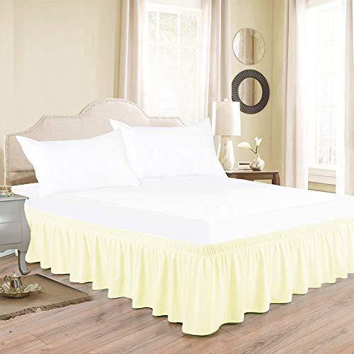 Indian Kingdom 800 Series - Falda de cama (38 cm), color marfil