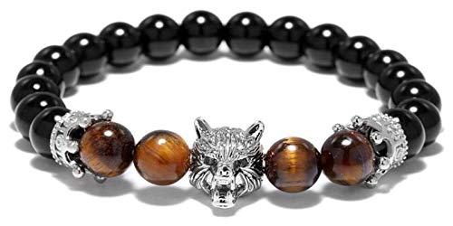 KEKEYANG Stone Bracelet Women,7 Chakra Natural Tiger Eye Stone Bead Obsidian Bangle Yoga Silver Wolf Animal Jewelry Elastic Energy Bracelets Charm Diffuser Women Stone bracelet