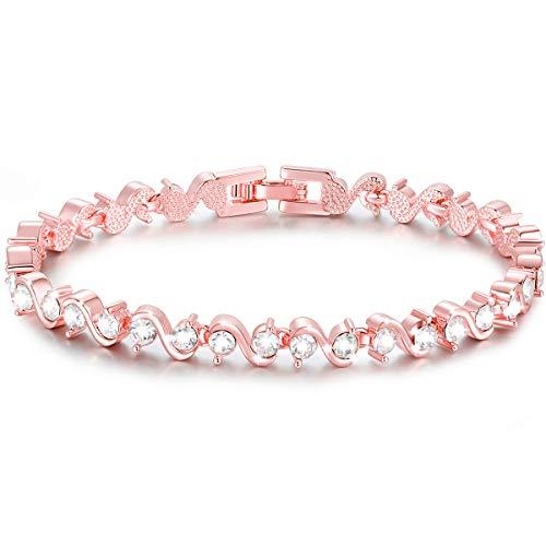 Pulsera de zirconia cúbica de S Shape Sparkle, pulsera bañada en oro rosa de 18k, pulsera de tenis [18cm] Regalos de San Valentín para el Día de la Madre en Navidad (oro rosa)