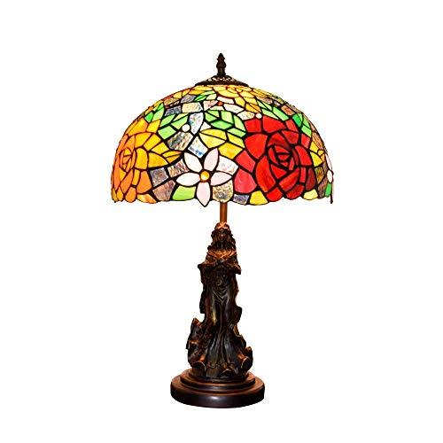 Allamp Norte de Europa 12' Estilo de Interior de la lámpara del Estilo de Tiffany lámpara de Mesa del Vidrio Manchado Base de la aleación Hechos a Mano lámpara de cabecera de Interior Tiffany