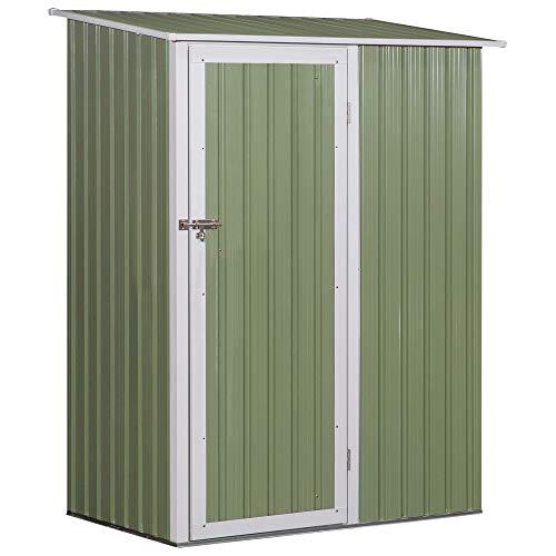 Outsunny Gerätehaus, Gartenhaus, Geräteschuppen mit Tür, Outdoor, Stahl, Grün,143 x 89 x 186 cm