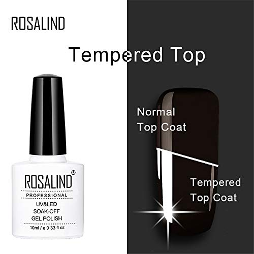 ROSALIND 10ml Gel de uñas de capa superior moderada Esmalte Soak Off UV Semi Permanent Laca