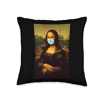 Mona Lisa Leonardo Da Vinci With Mask Mona Lisa Famous Painting Wearing Mask Stay Away Please Throw Pillow 16x16 Multicolor