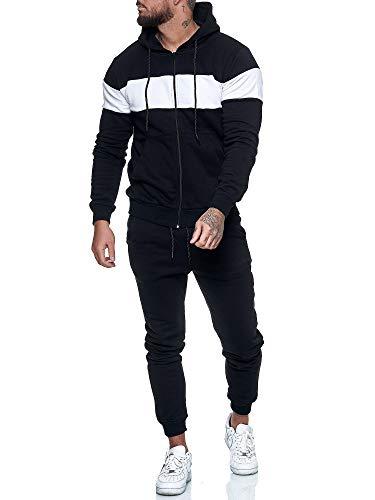 OneRedox   Herren Trainingsanzug   Jogginganzug   Sportanzug   Jogging Anzug   Hoodie-Sporthose   Jogging-Anzug   Trainings-Anzug   Jogging-Hose   Modell JG-1268-ST Schwarz Weiss XS