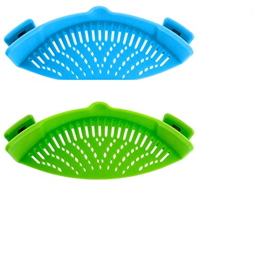 Kitchen Silicone Strain Strainer, Clip On Silicone Colander, Fits all Pots and Bowls,for Pasta, Vegetables, Ground Beef & More. – Green &blue