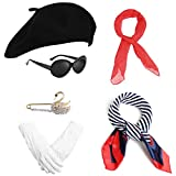Women French Beret Hat Mime Costume Chiffon Scarf Silk Scarf Brooch Gloves Oval Sunglasses Fancy Dress Accessories (1-Black)