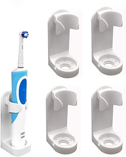 Un juego de 4 portacepillos eléctricos, caja para cepillos de dientes autoadhesiva de pared, soporte antihuellas, portacepillos ajustable, soporte para cepillo de dientes de baño (universal blanco)