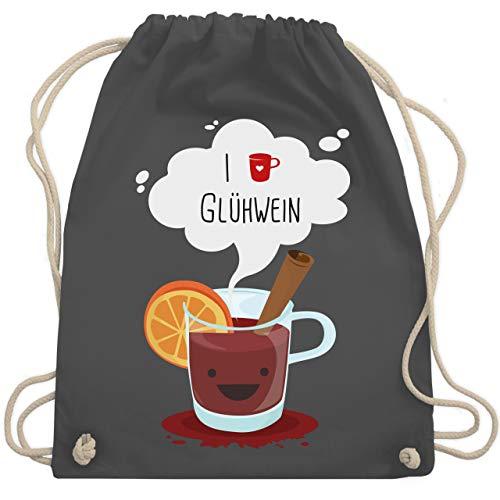 Weihnachten & Silvester - I love Glühwein glückliche Tasse - Unisize - Dunkelgrau - tasse rot - WM110 - Turnbeutel und Stoffbeutel aus Baumwolle