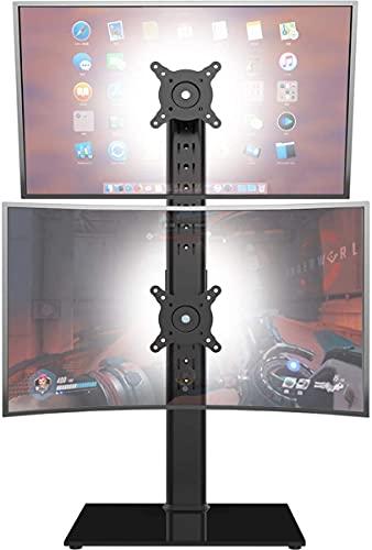 Soporte de Monitor Dual: Pantalla de Pila Vertical El Elevador de Monitor Independiente se Adapta a Dos Pantallas de 13 a 34 Pulgadas con Giro, inclinación y Altura Ajustable