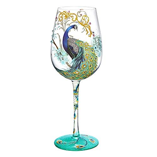 NymphFable Copa de Vino Pintada a Mano Pavo Real de Colorido Copa de Vino Tinto 15oz Regalo para Familia o Amigo
